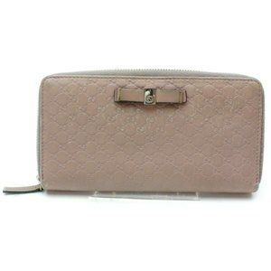 Auth Gucci Zippy Wallet Pink Leather #7295G86